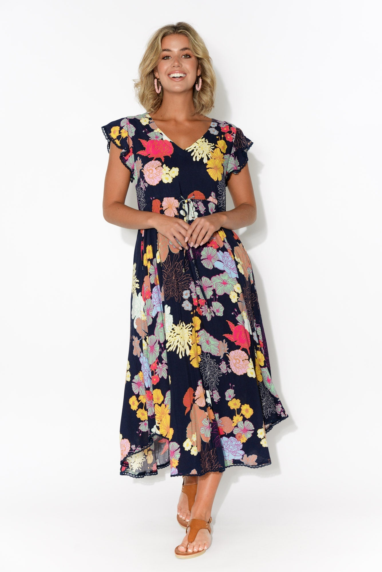 Libby Navy Pink Floral Midi Dress