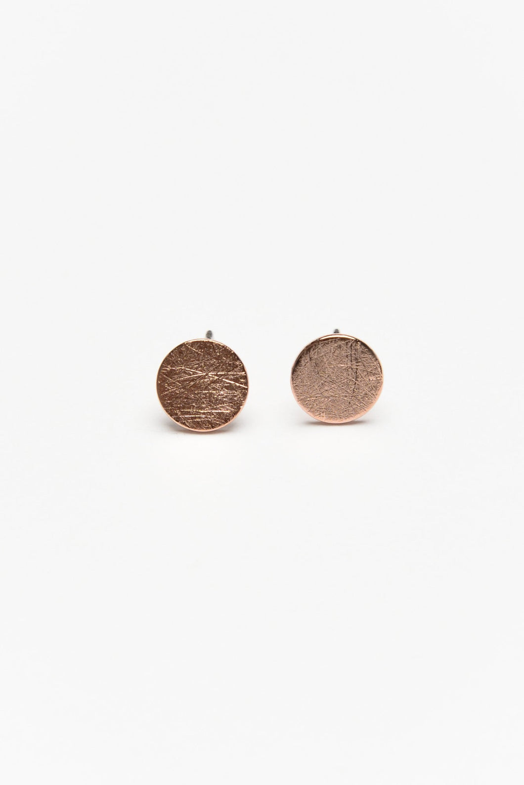 Lilie Rose Gold Brushed Circle Stud Earring