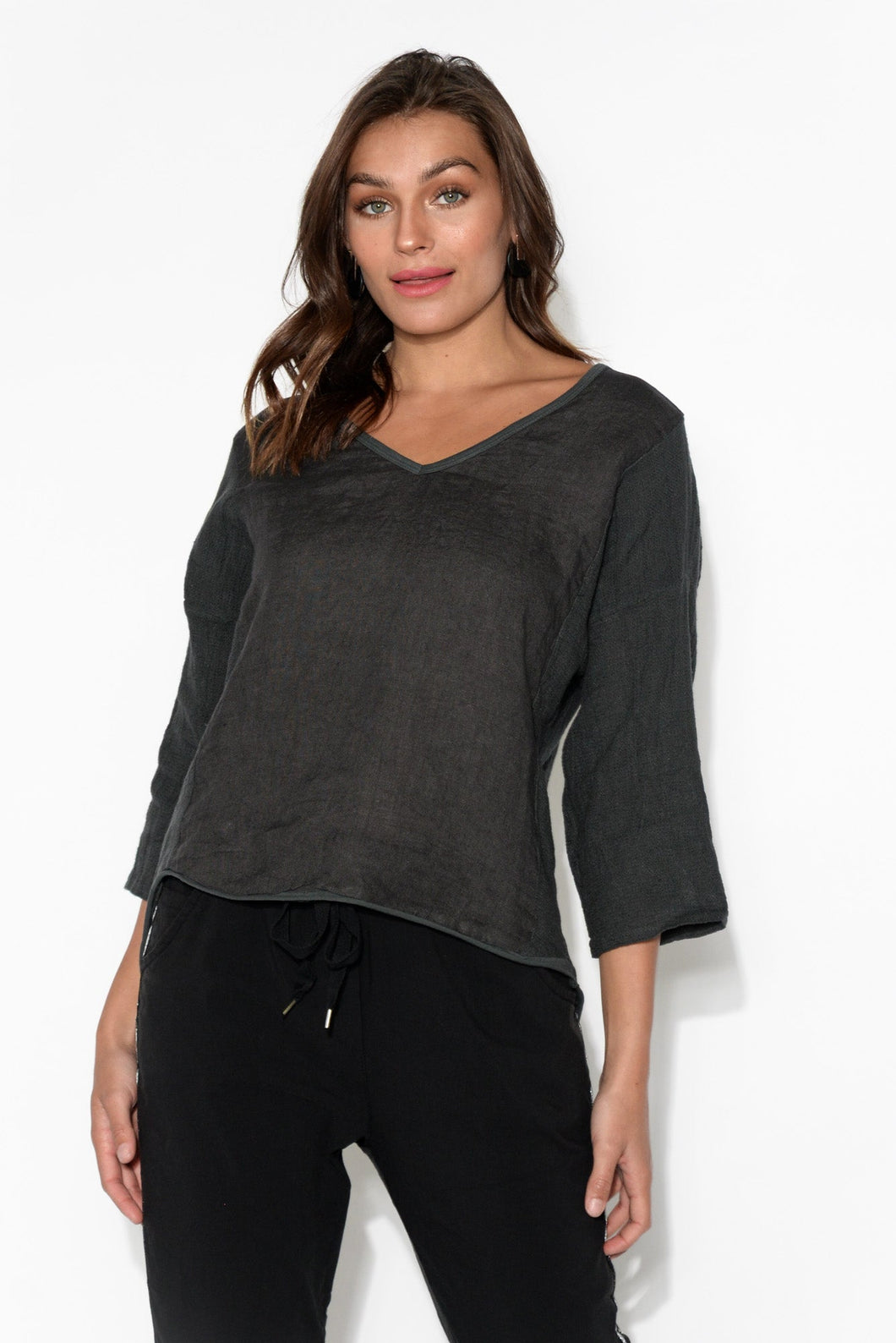 Linda Charcoal 3/4 Sleeve Linen Cotton Top