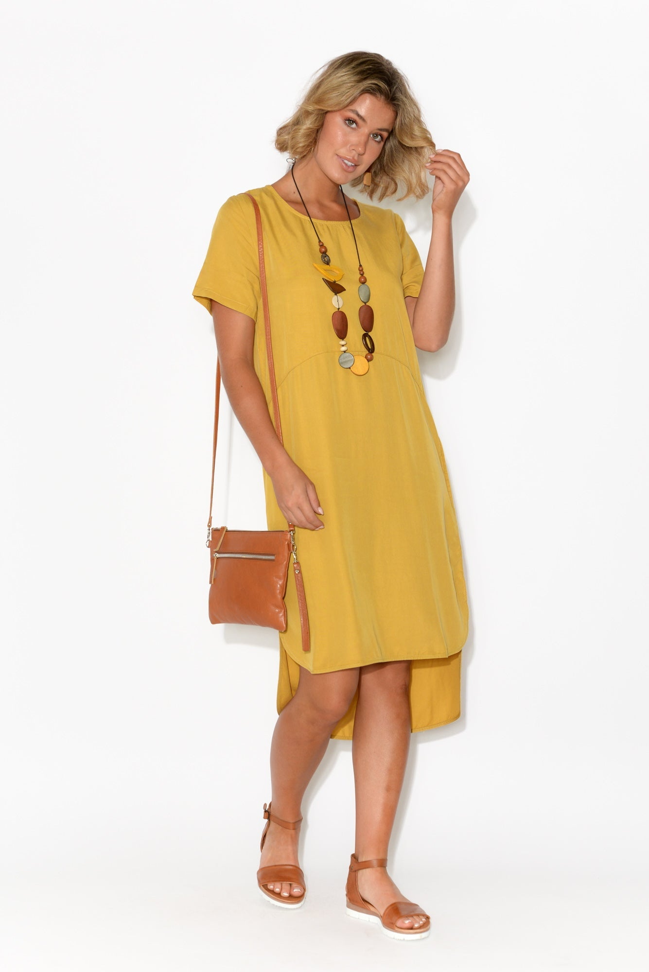 Lola Yellow Hi Lo Dolphin Hem Dress