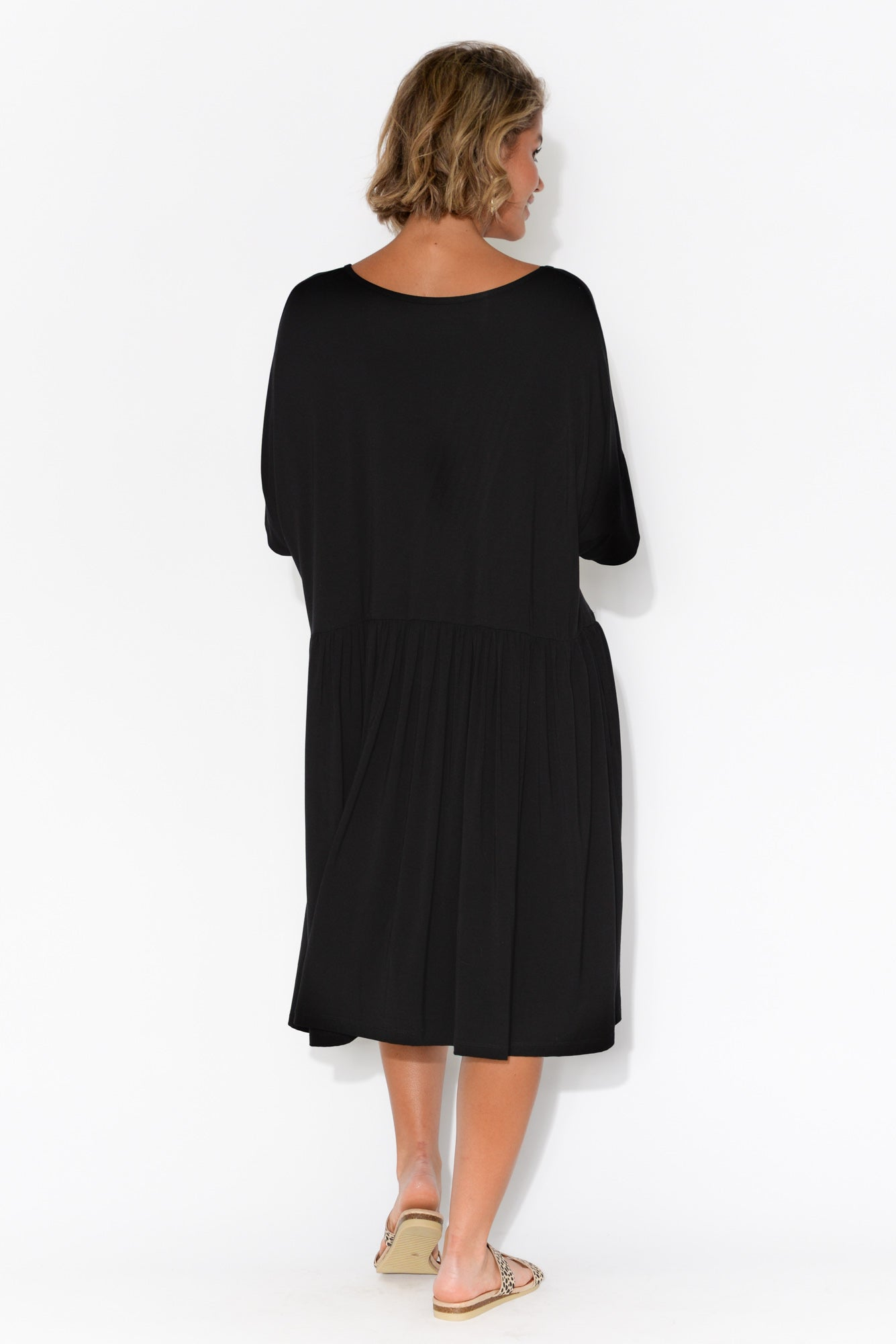 Lopez Black Bamboo Drape Dress