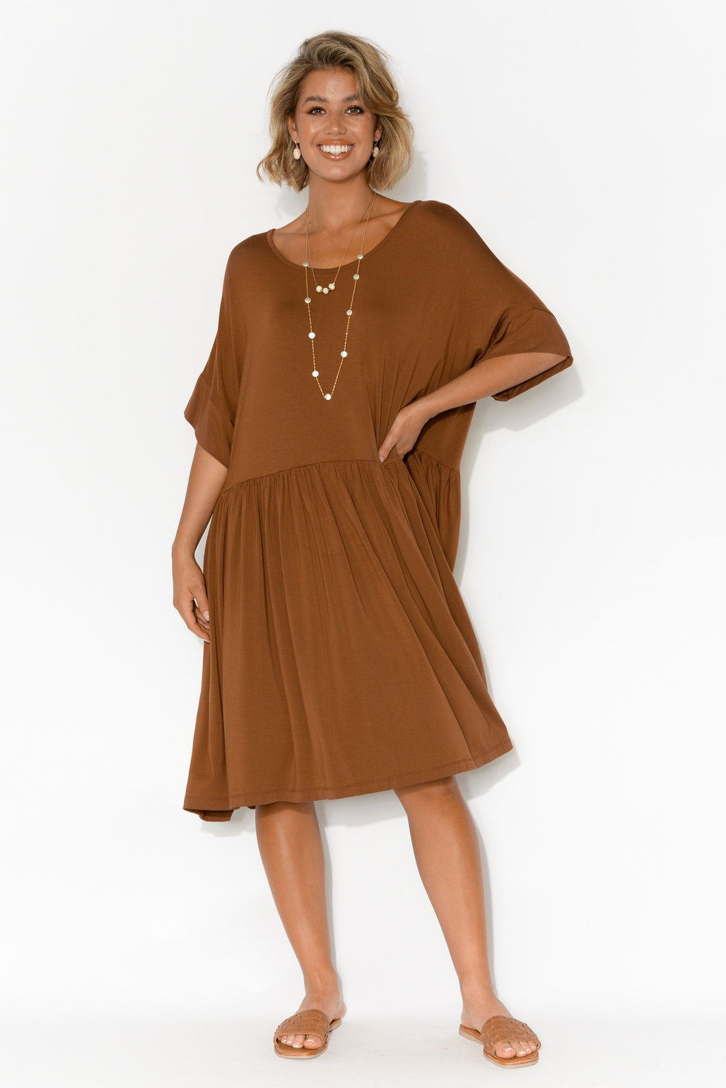 Lopez Bronze Bamboo Drape Dress