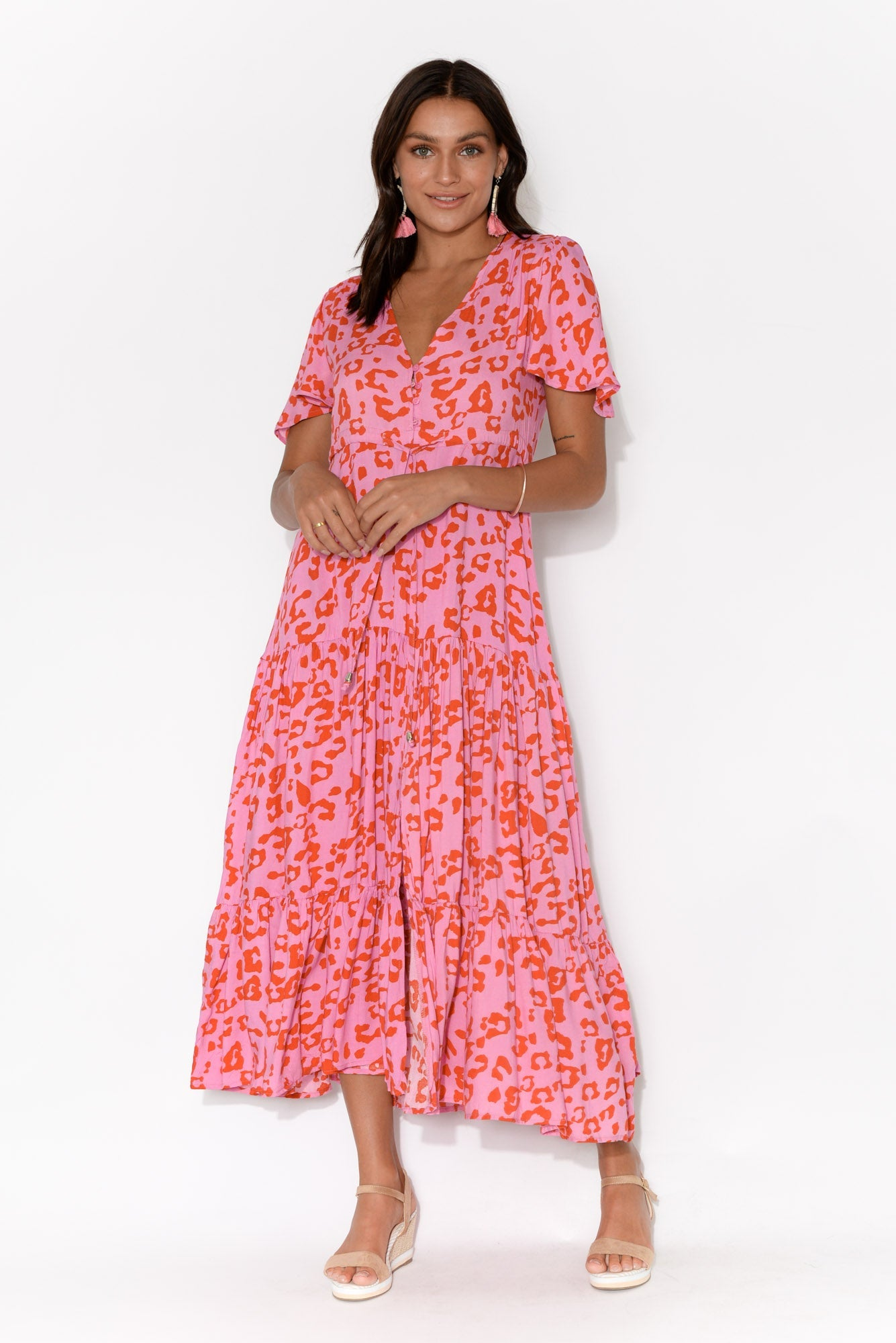 Louisa Pink Leopard Maxi Dress