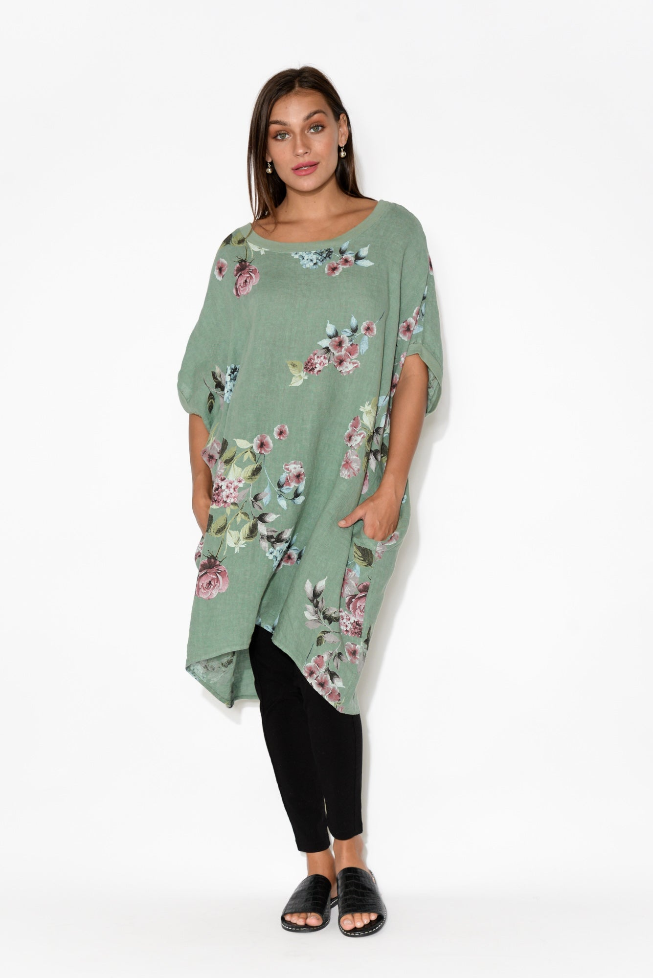 Lucca Sage Floral Linen Dress