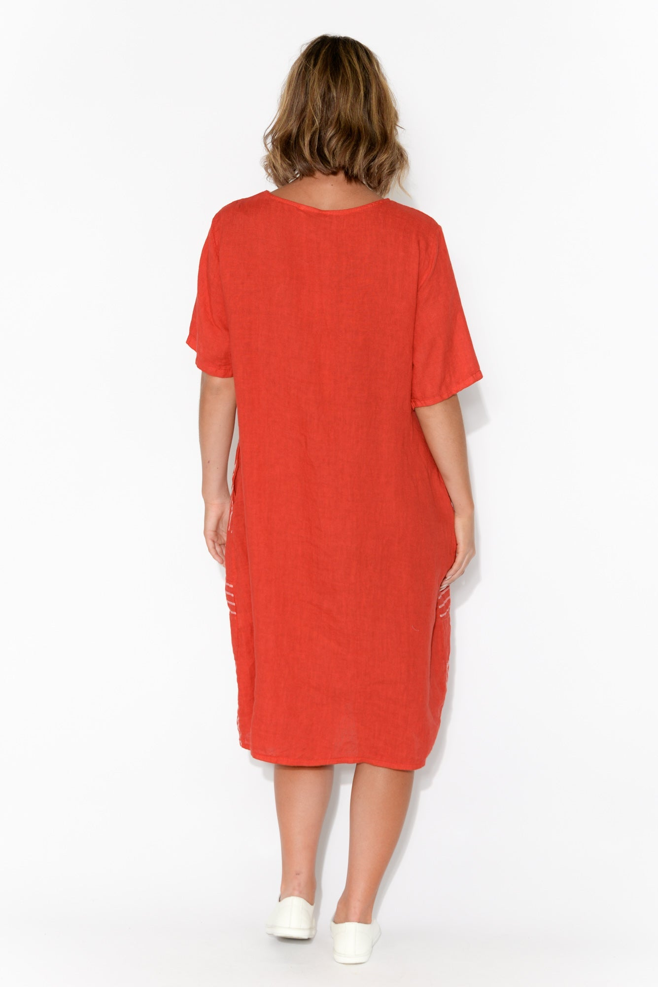 Lucille Red Stripe Linen Dress