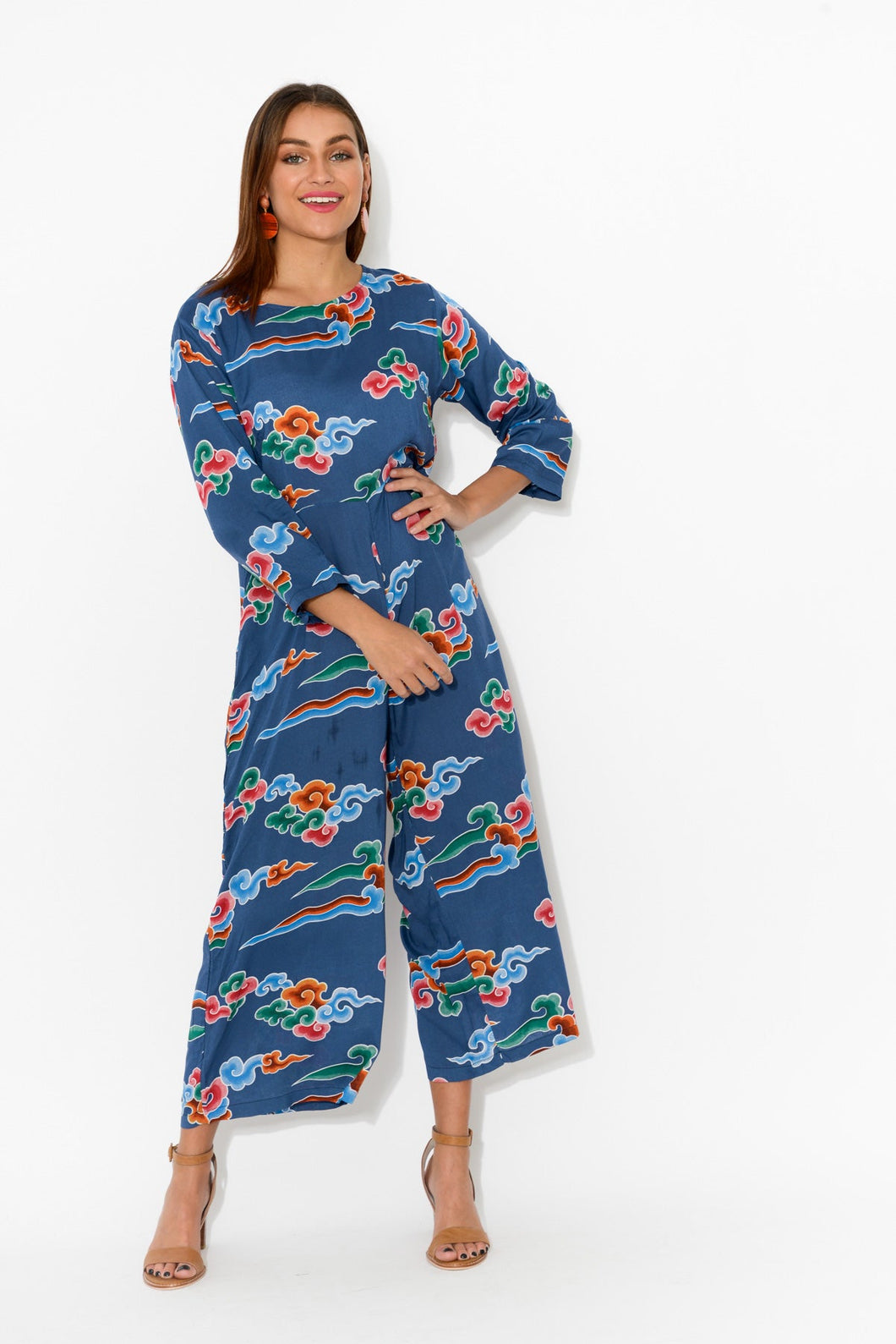 Luna Navy Clouds Jumpsuit - Honeysuckle Beach - Blue Bungalow Online