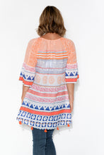 Maggie Orange Abstract Bell Sleeve Dress