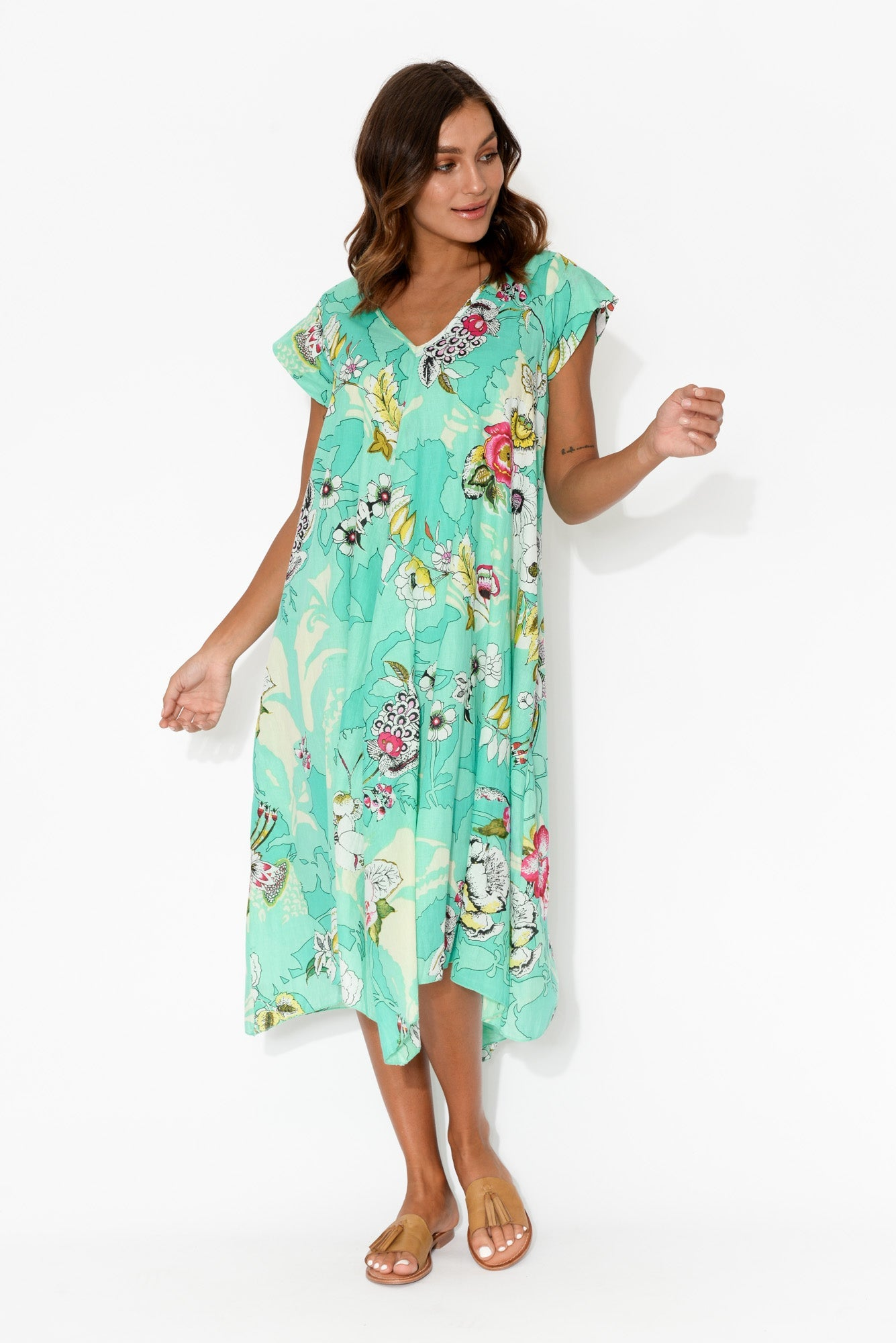 Maheno Aqua Garden Cotton Midi Dress