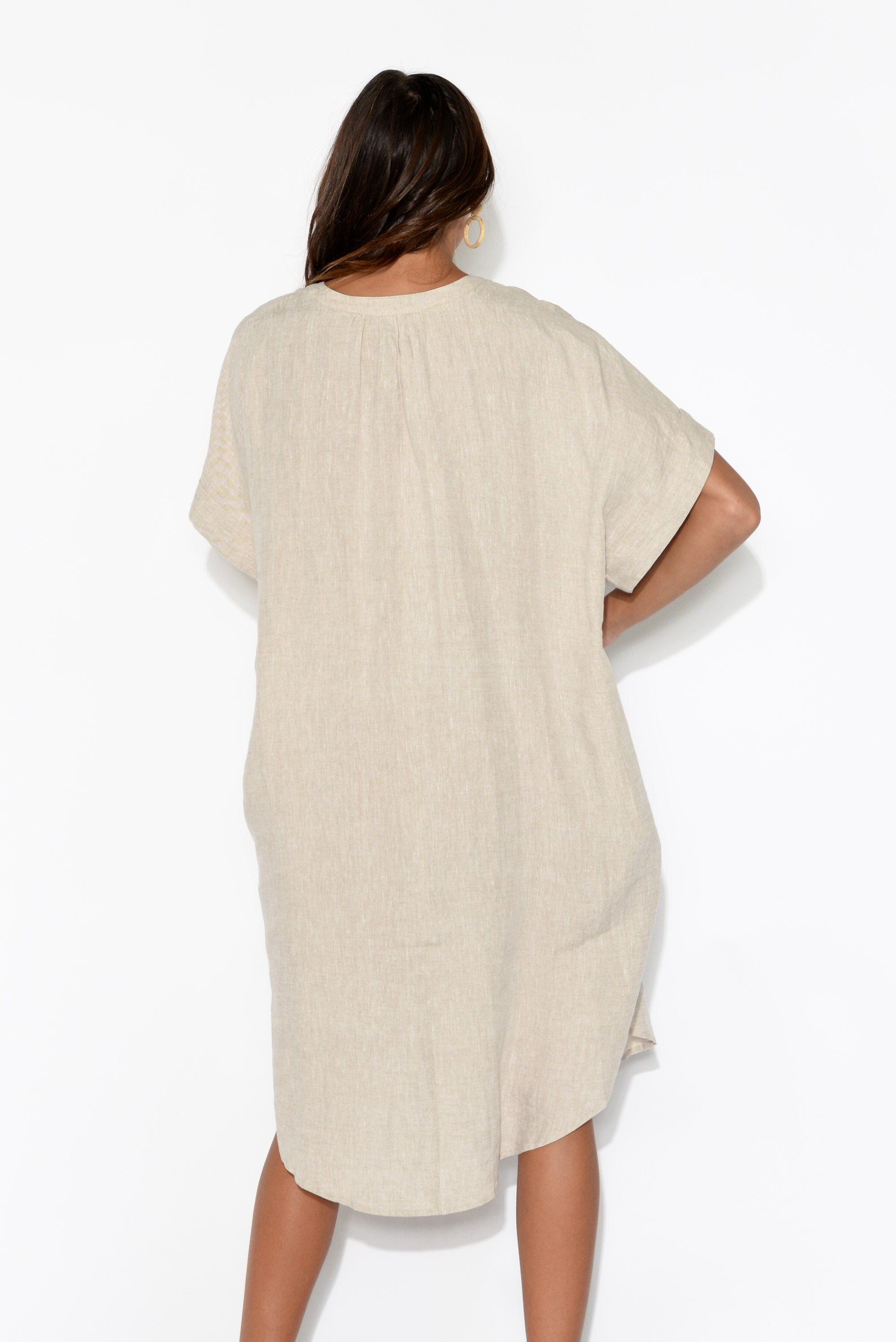 Majorca Beige Linen Shirt Dress