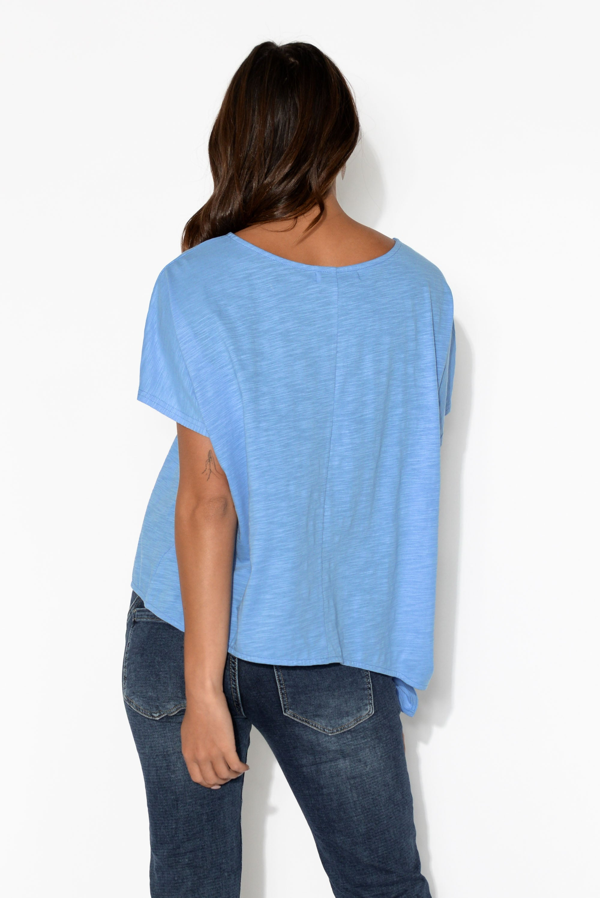 Majorca Blue Side Tie Cotton Tee