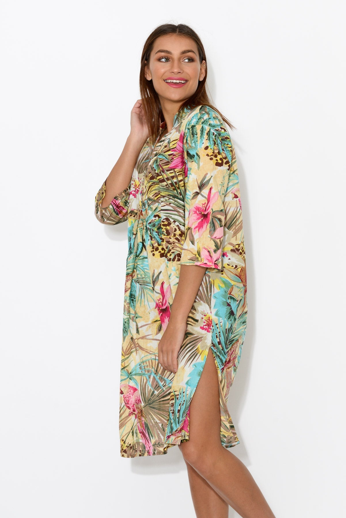 Malolo Desert Tropic Sleeved Cotton Kaftan - Mozaic - Blue Bungalow Online