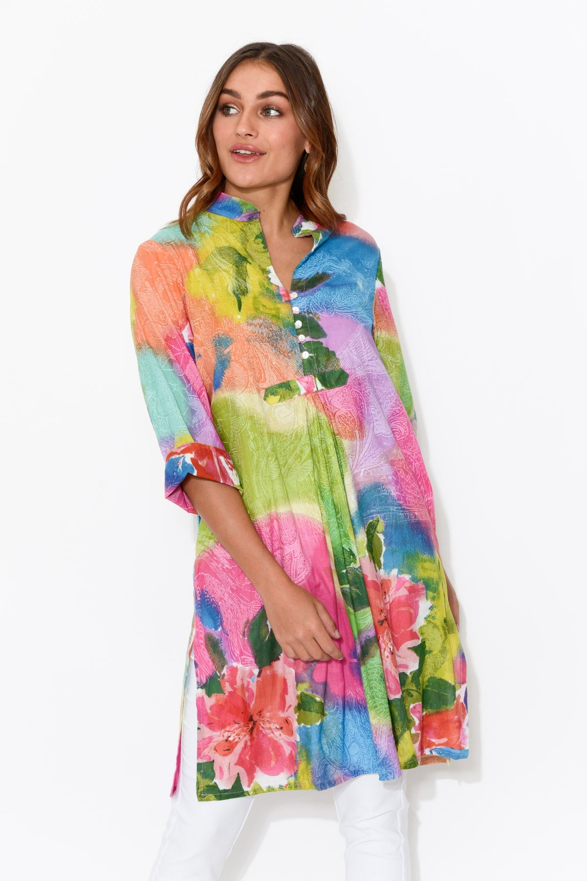 Malolo Pink Peony Sleeved Cotton Dress - Mozaic - Blue Bungalow Online