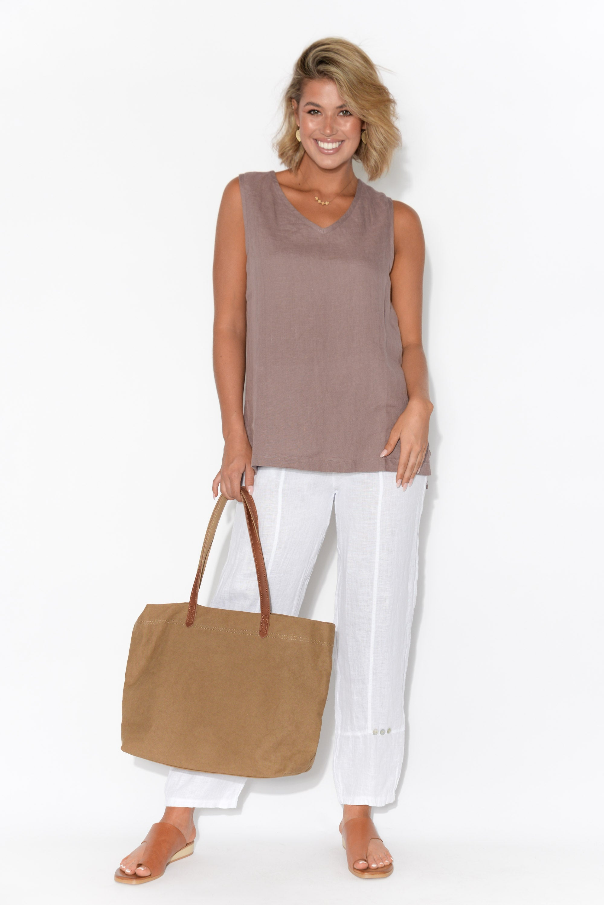 Mandalay Mauve Sleeveless Linen Top