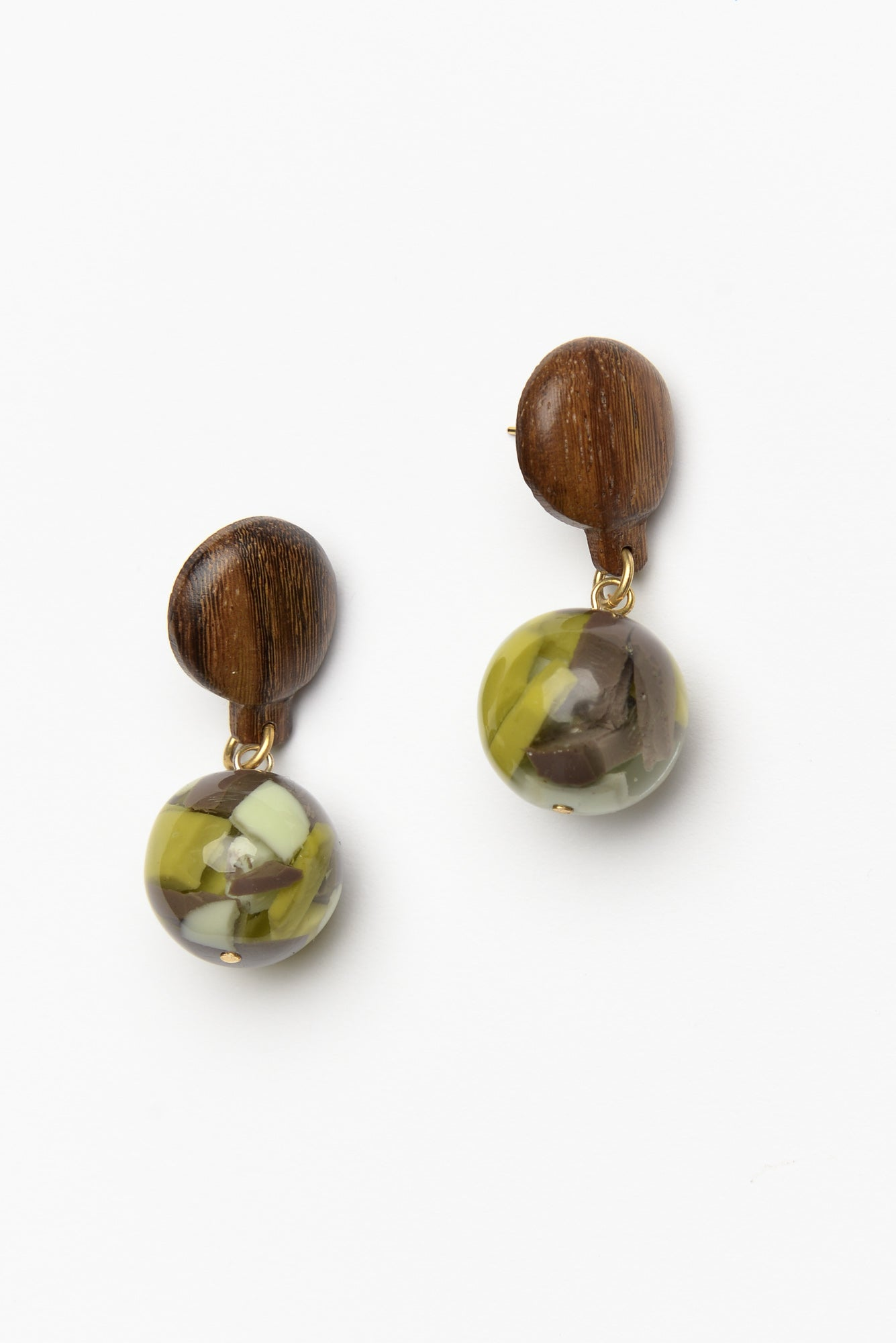 Mandi Green Resin Ball Drop Earring