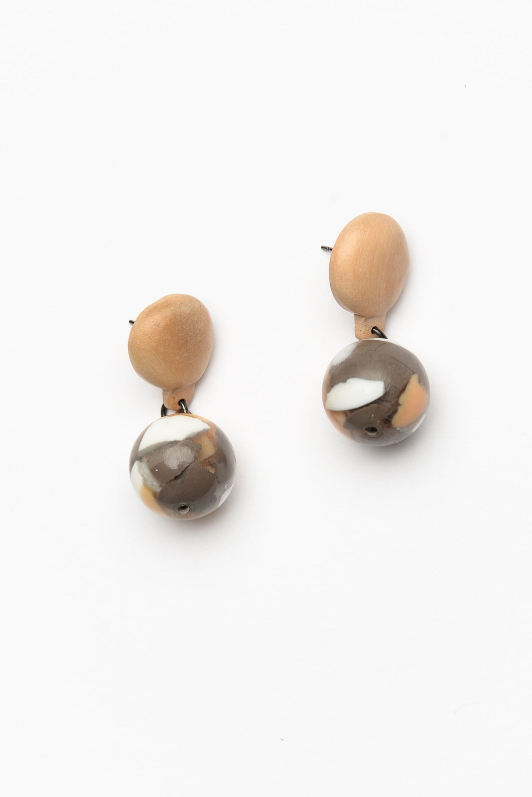 Mandi Peach Resin Ball Drop Earring