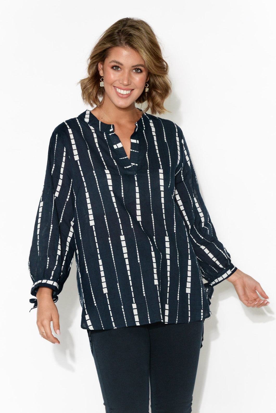 Mara Navy Abstract Stripe Top