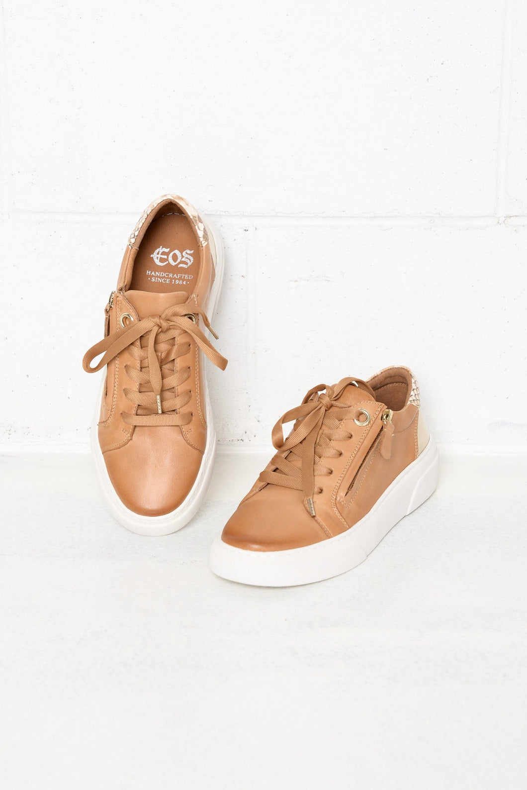 Marble Tan Leather Zip Sneaker