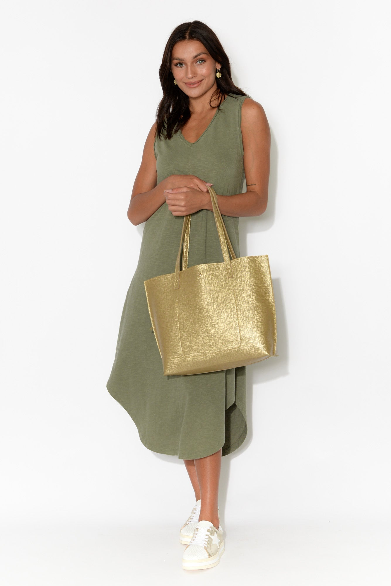 Margot Khaki Cotton Sleeveless Dress