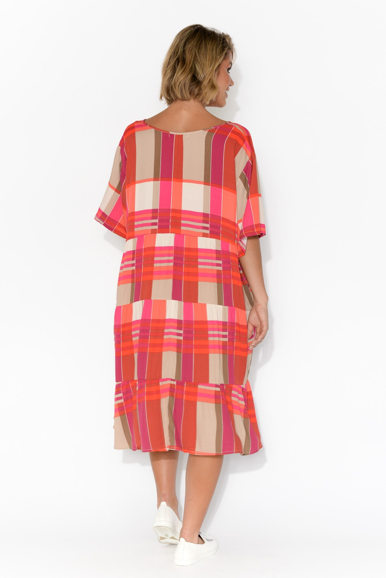 Mari Pink Check Tier Dress