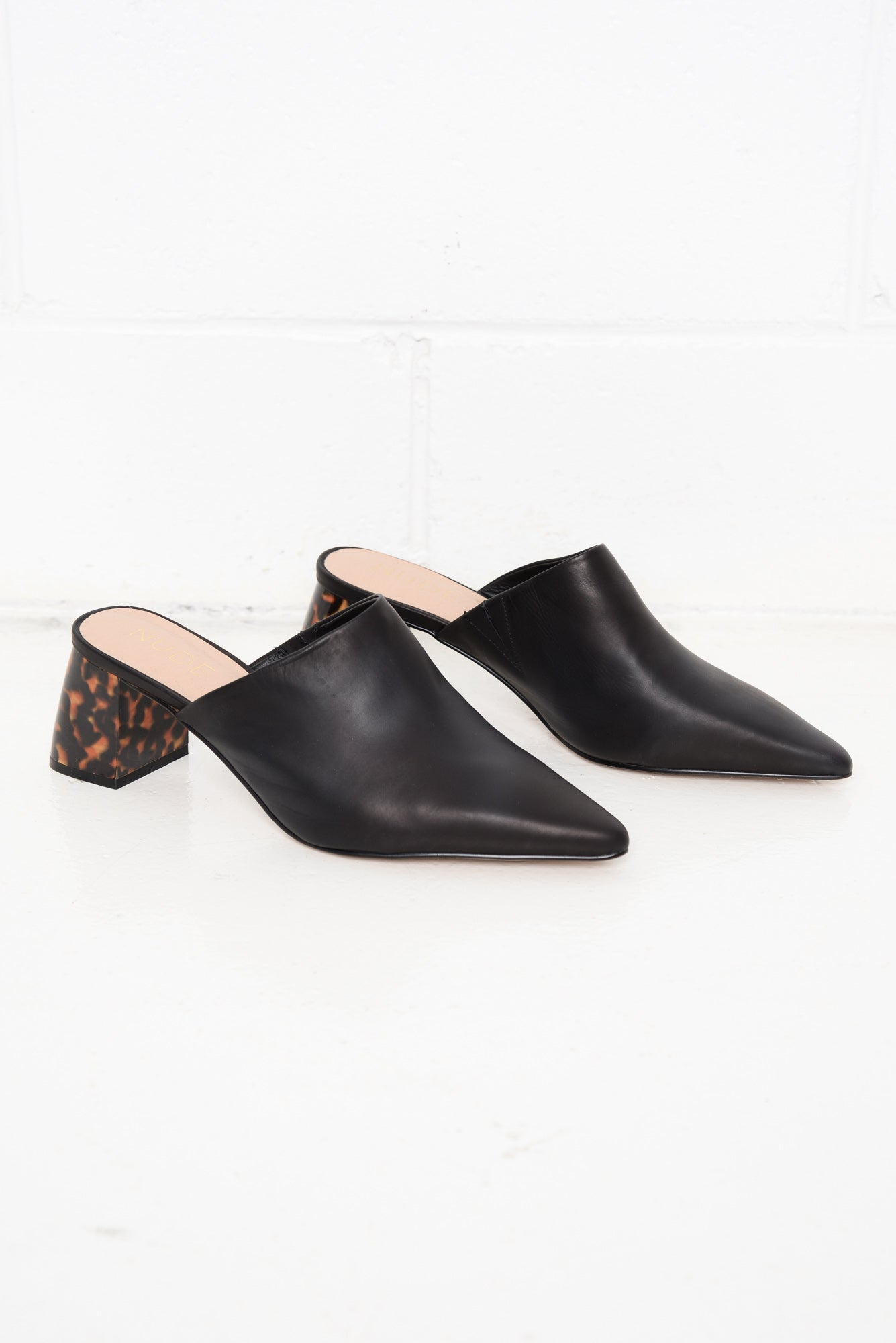 Mavis Black Leather Tortoiseshell Heel