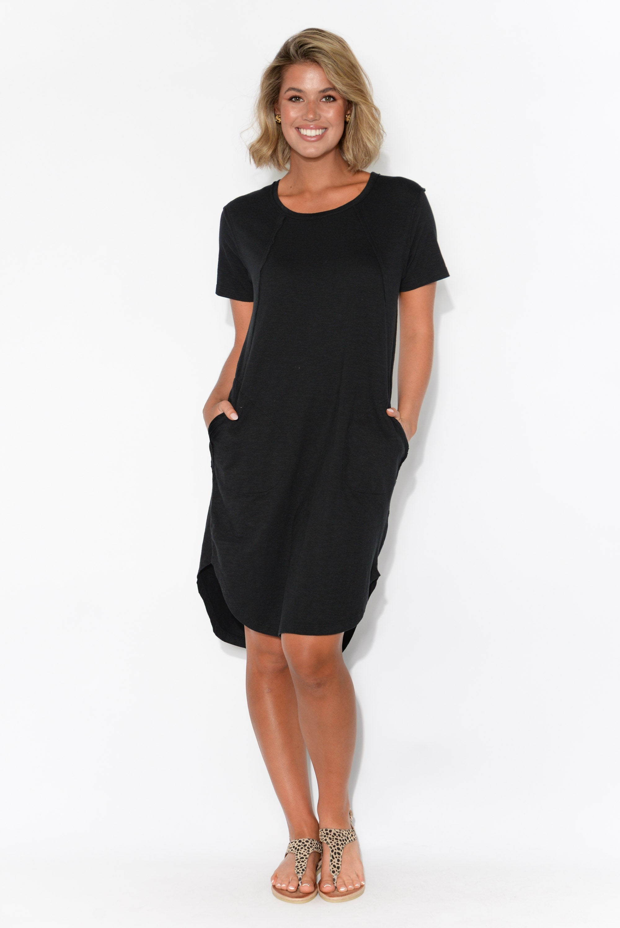 Mckenna Black Cotton Tee Dress