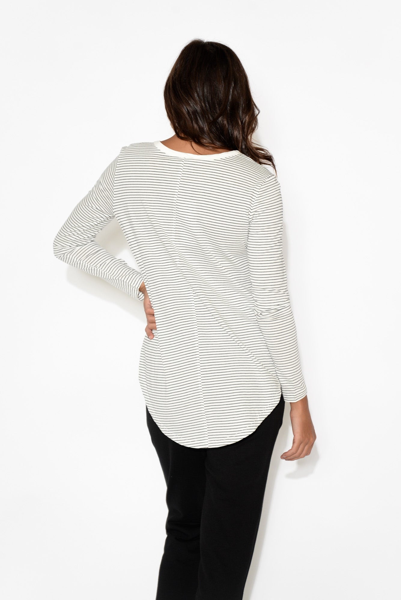 Megan Black Stripe Long Sleeve Cotton Top