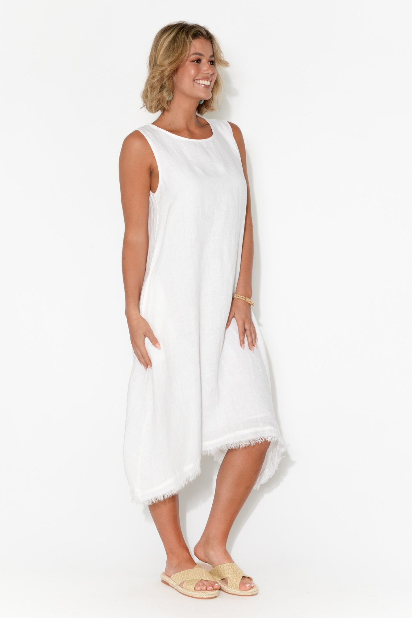 Miranda White Linen Fringe Dress