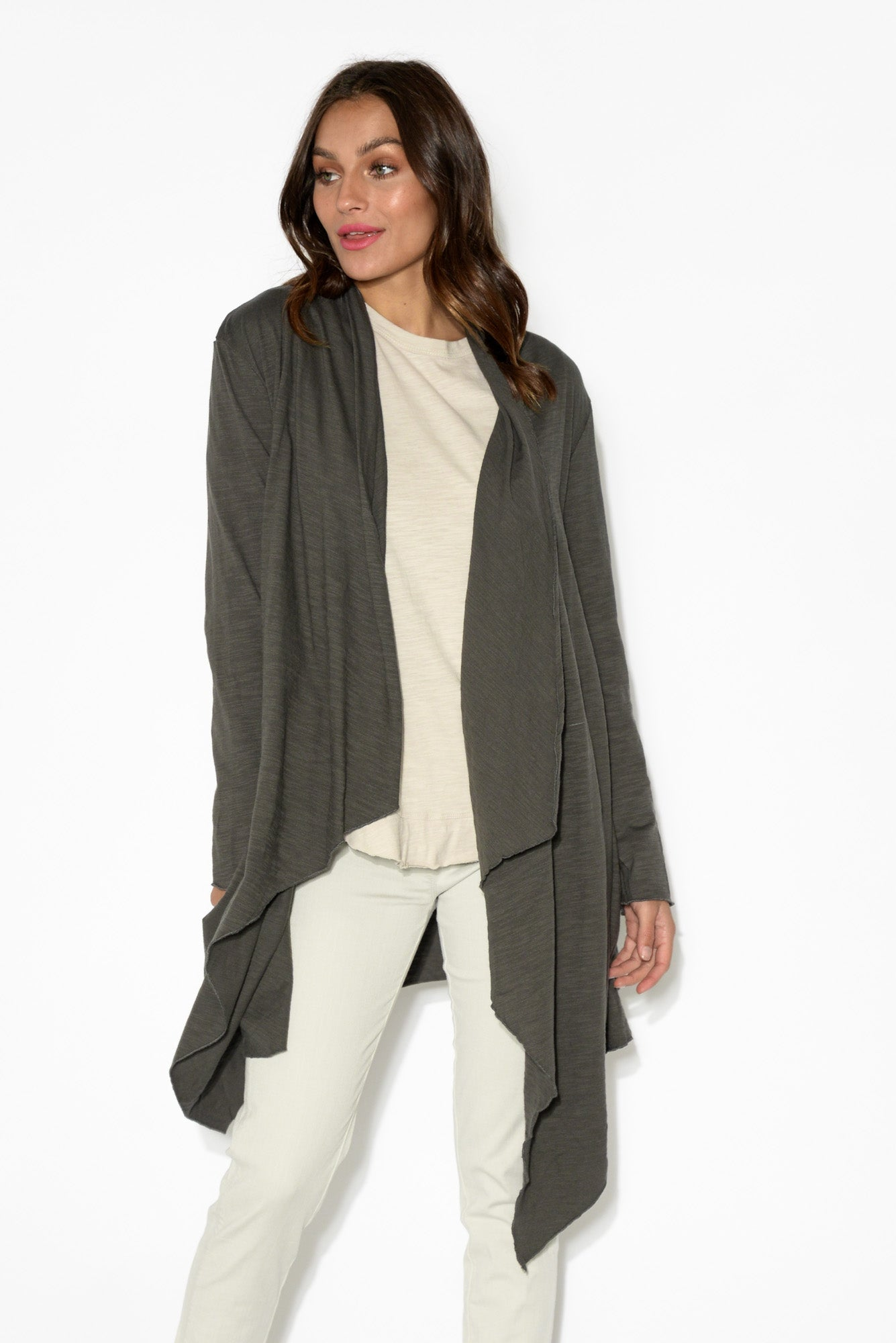 Alexandria Charcoal Waterfall Cardigan