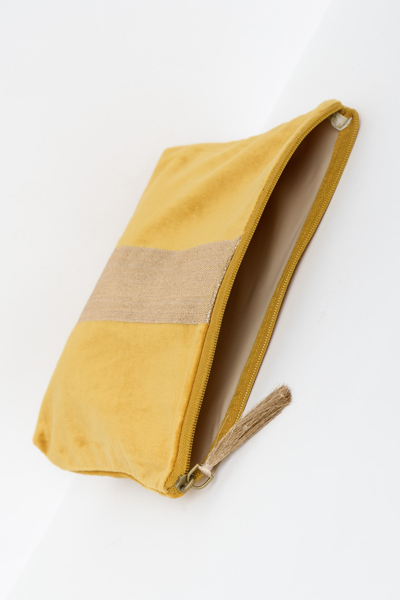 Mustard Velvet Gold Cosmetic Bag - Blue Bungalow