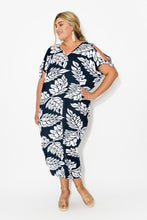 Mykonos Navy Leaf Cold Shoulder Kaftan