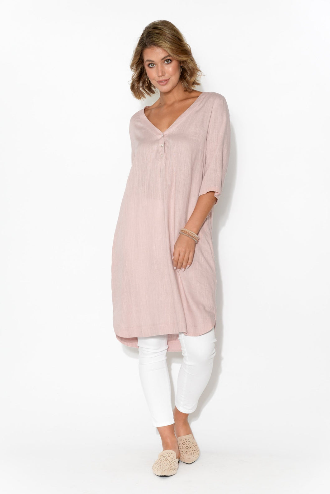 Myra Pink Cotton Linen Tunic Dress