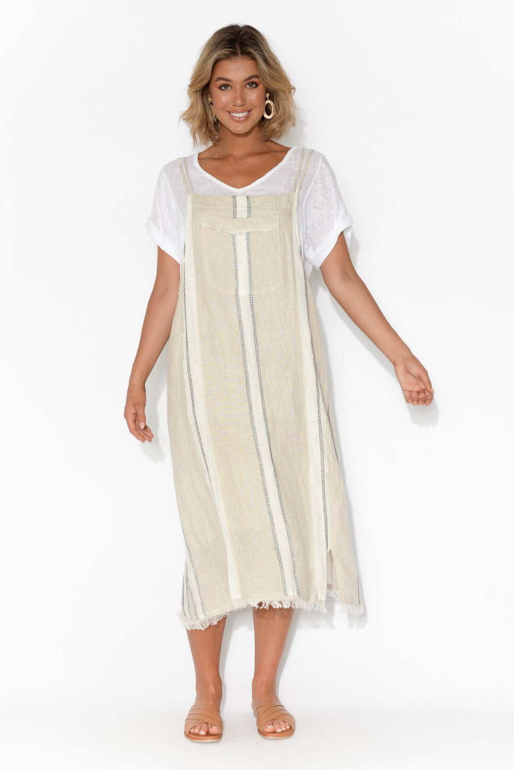 Natural Stripe Linen Pinafore Dress