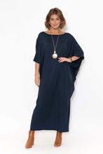 Navy Bamboo Batwing Maxi Dress