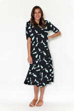 Navy Jigsaw Modal Tri Drape Dress
