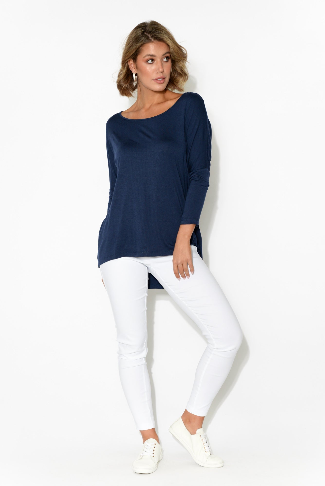 Navy Milan 3/4 Sleeve Top
