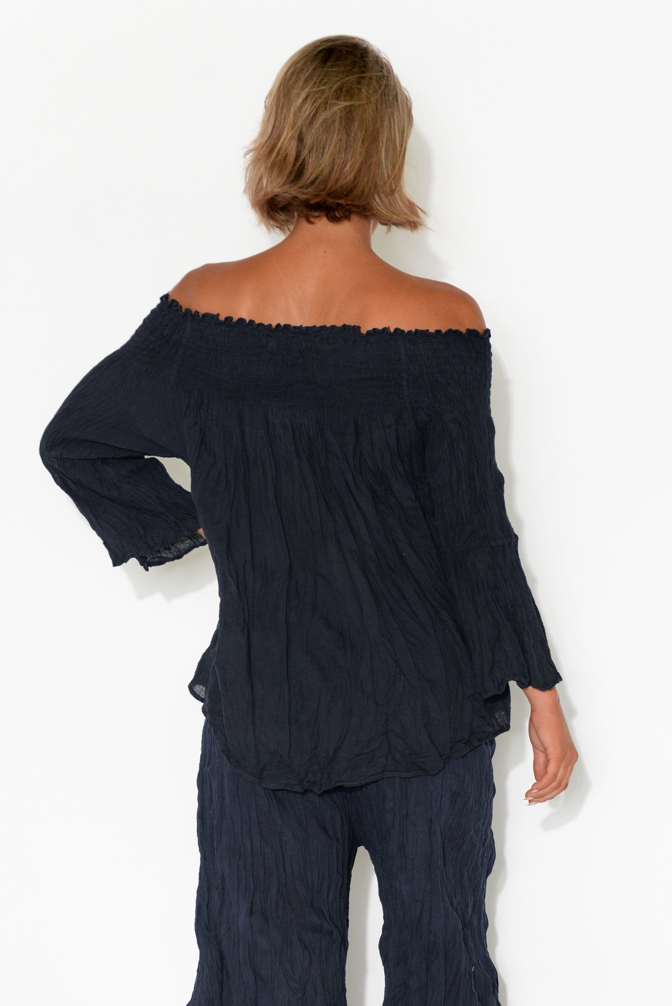 Navy Off Shoulder Crinkle Cotton Top