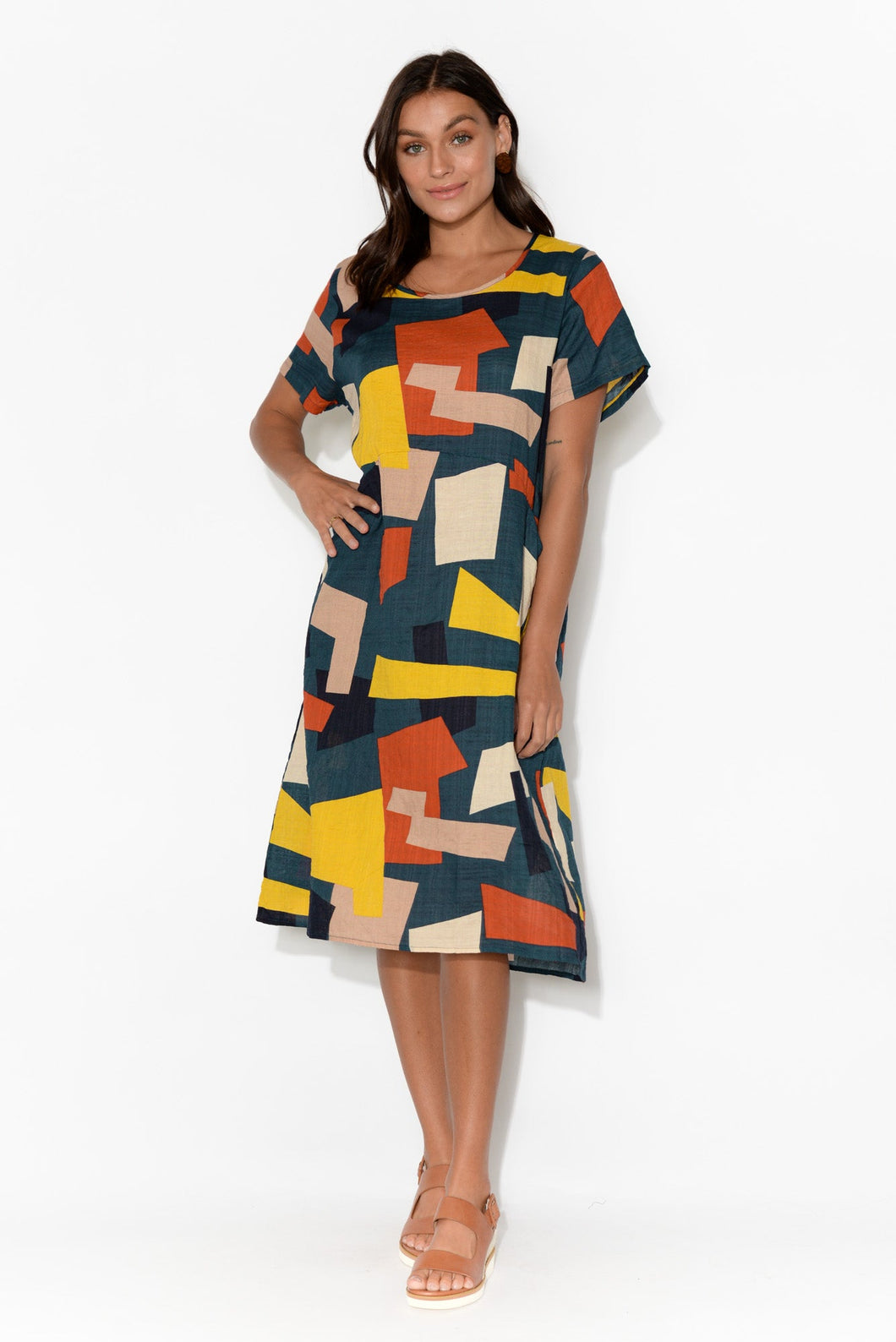 Navy Squares Abstract Panel Dress