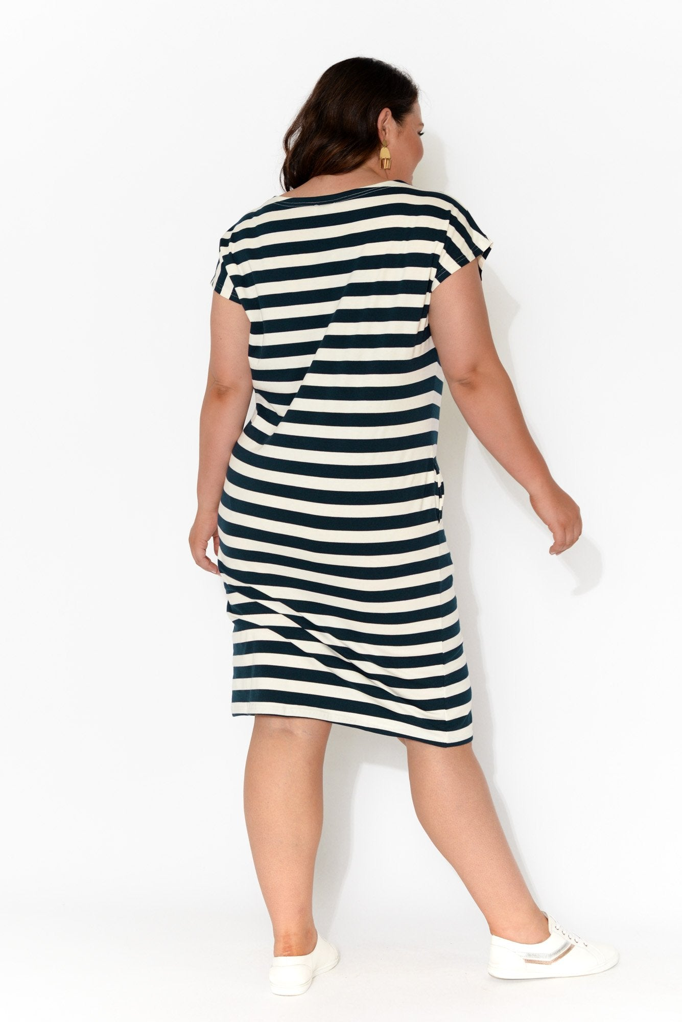 Navy Stripe Cotton Boatneck Dress
