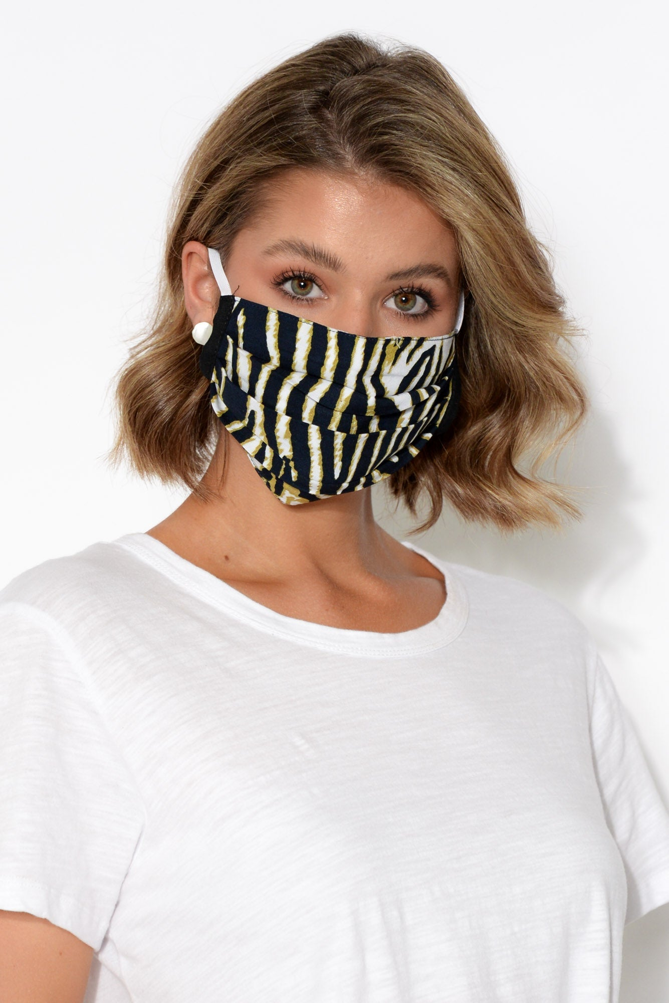 Navy Zebra Fashion Face Mask