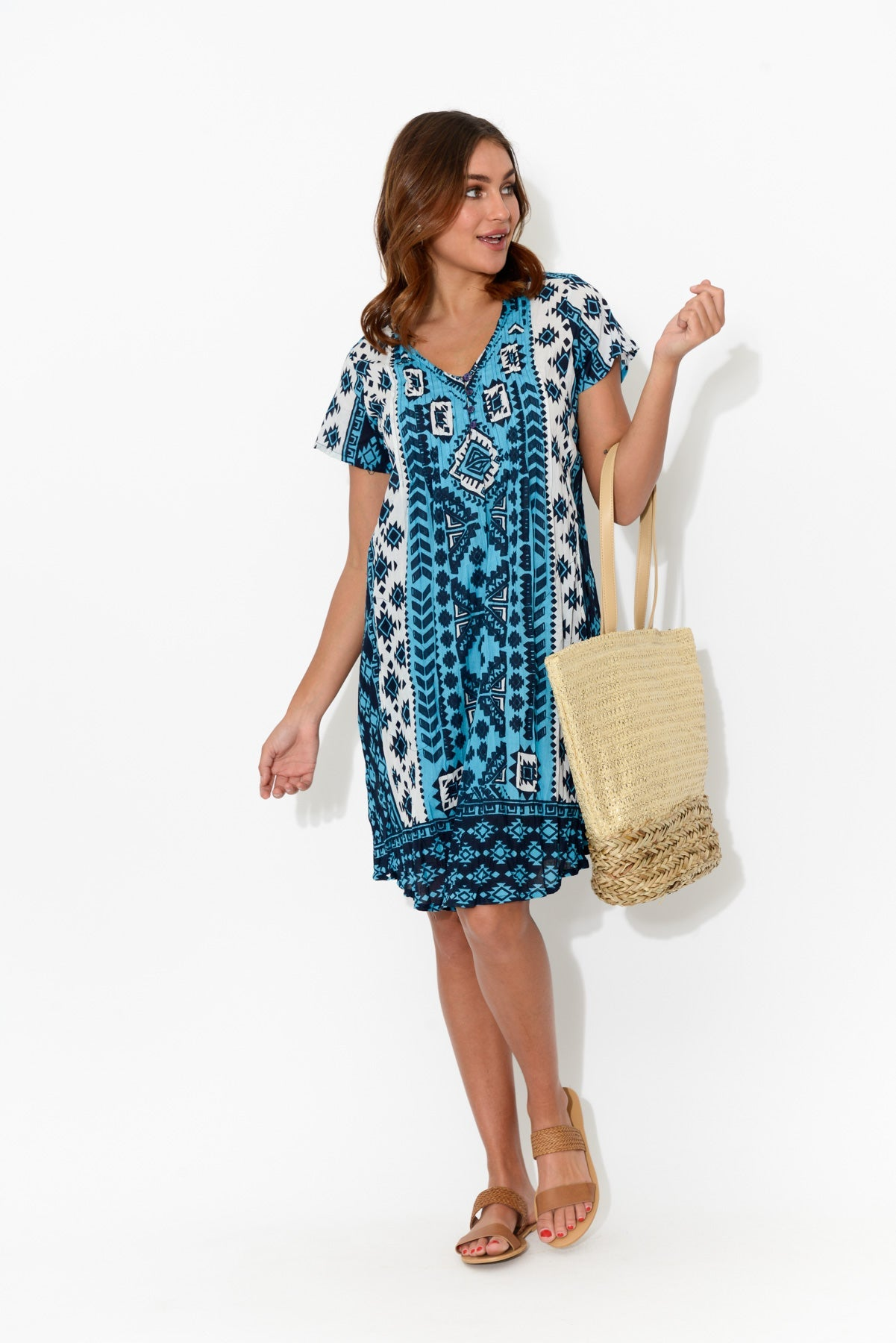 Navy Aztec Crinkle Cotton Dress - One Summer - Blue Bungalow Online