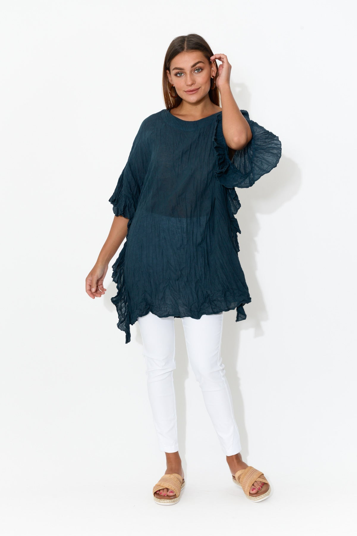Navy Crinkle Cotton Oversized Tunic