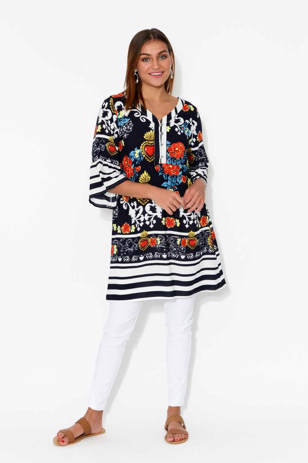 Navy Heart Ruffle Sleeve Tunic - Hourglass - Blue Bungalow Online