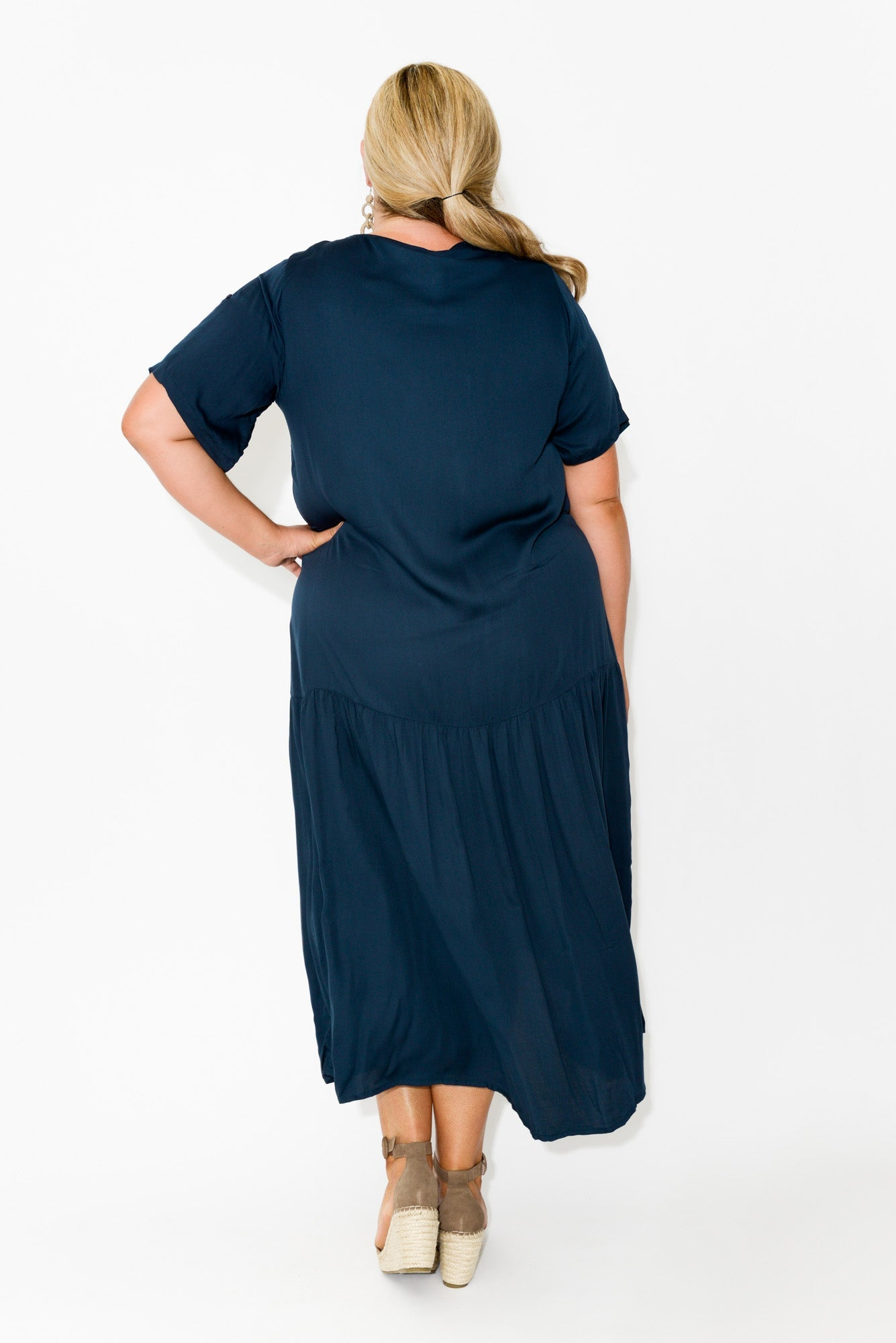 Navy Sateen Peak Maxi Dress