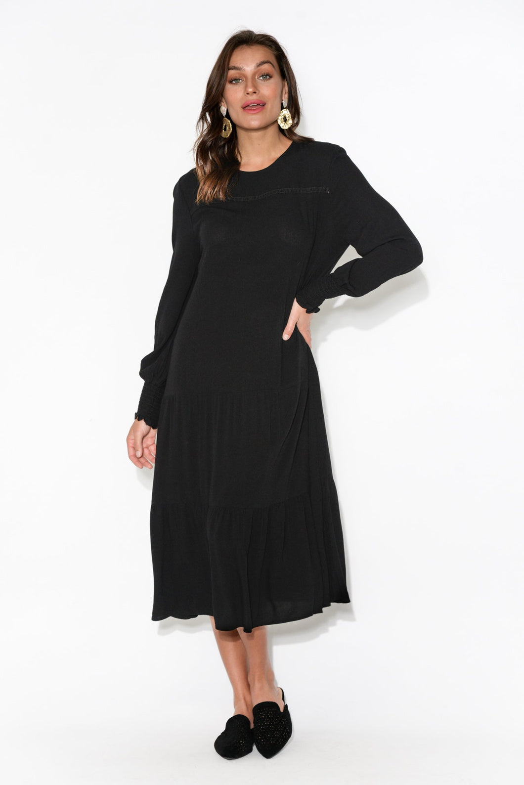 Neeve Black Midi Dress