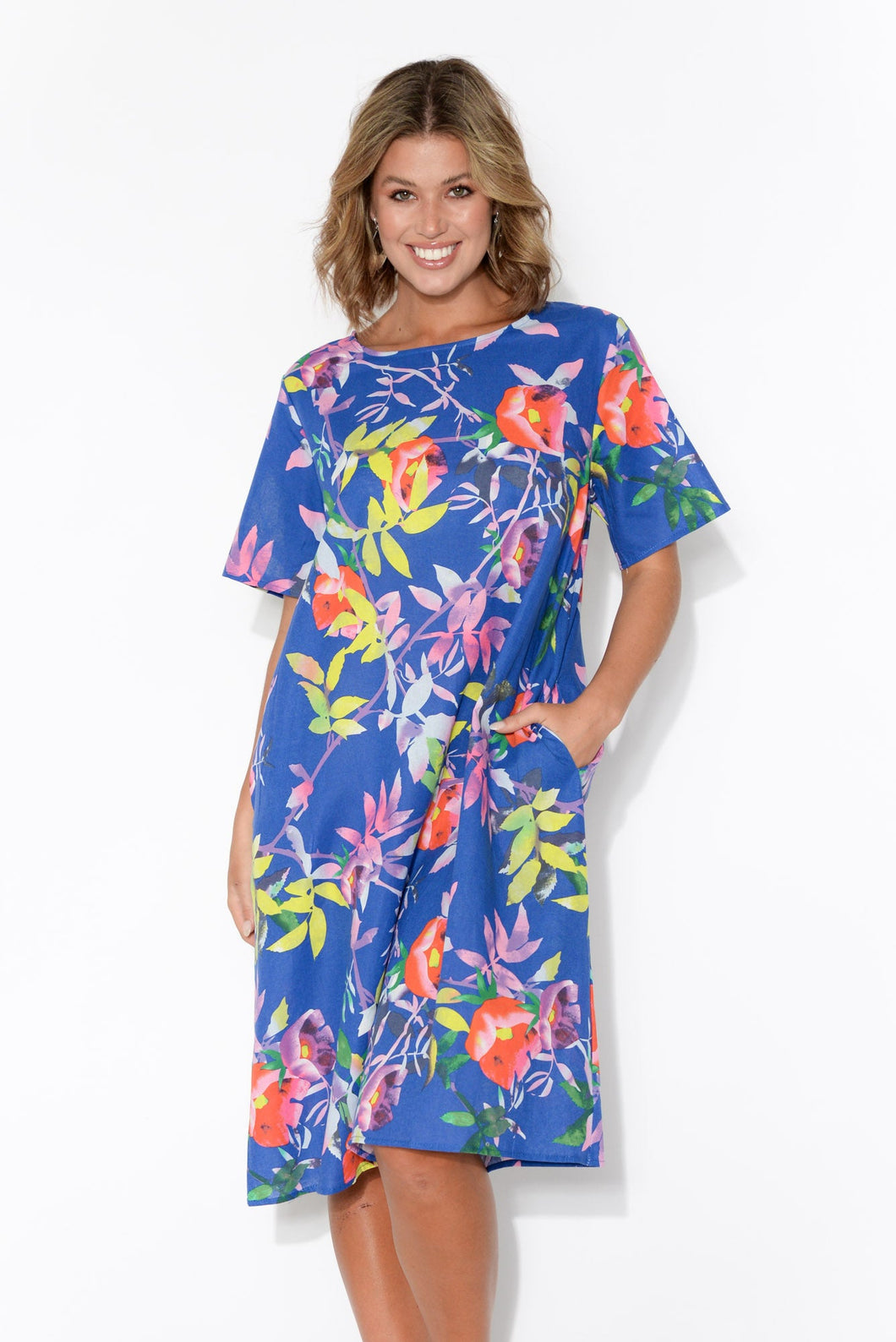 Nicola Blue Floral Shift Dress