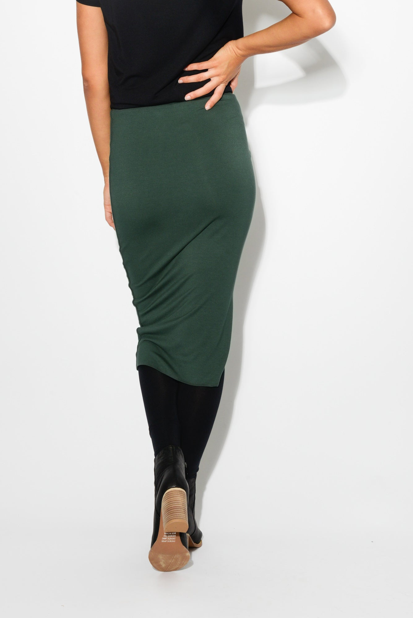 Nina Green Midi Bamboo Skirt - Bamboo Body - Blue Bungalow Online