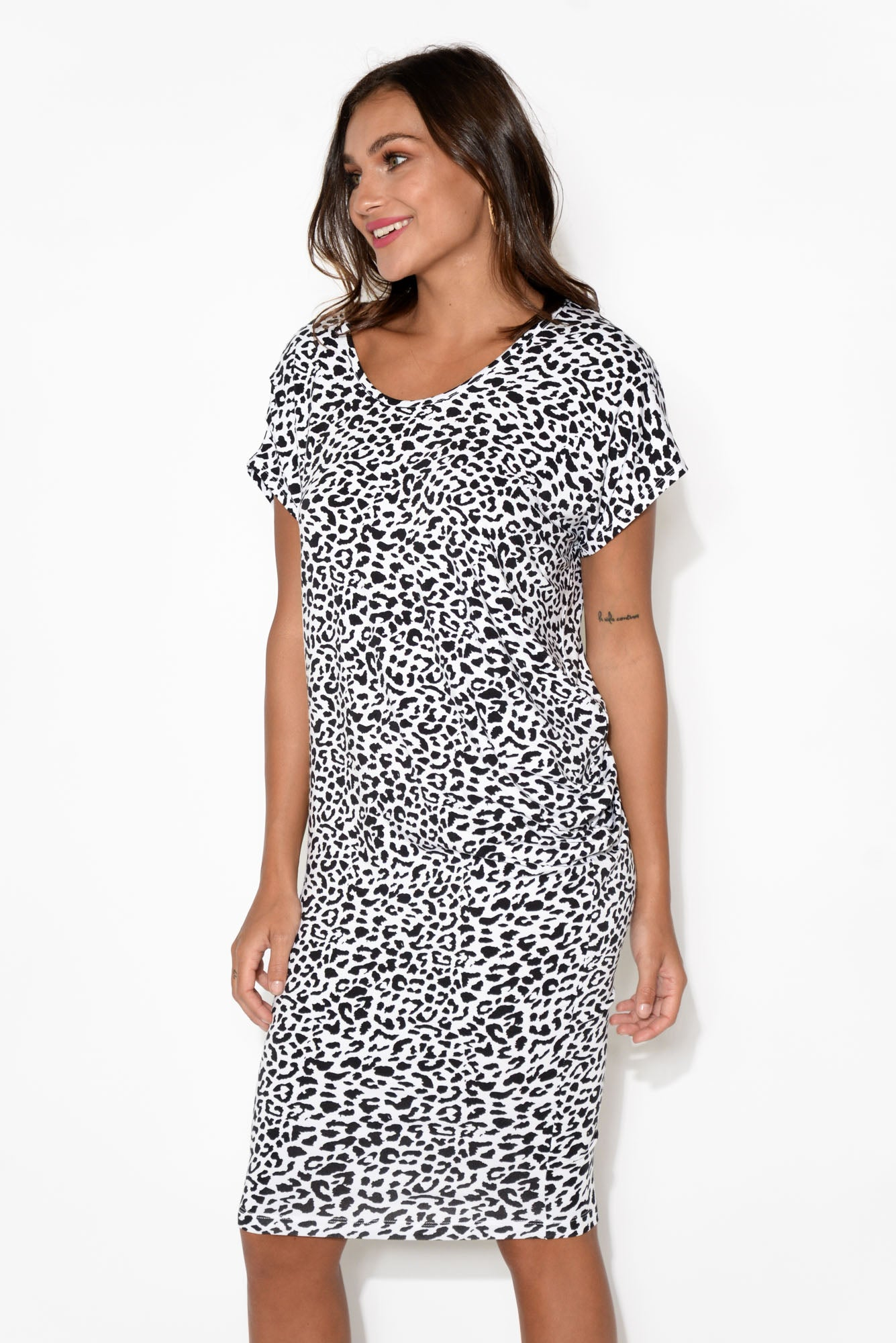 Nora Black Leopard Bamboo Dress