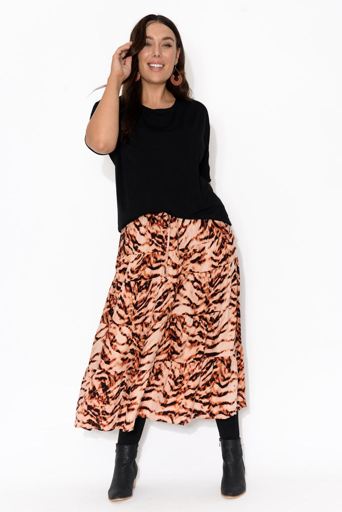 Norabel Rust Animal Print Tiered Skirt