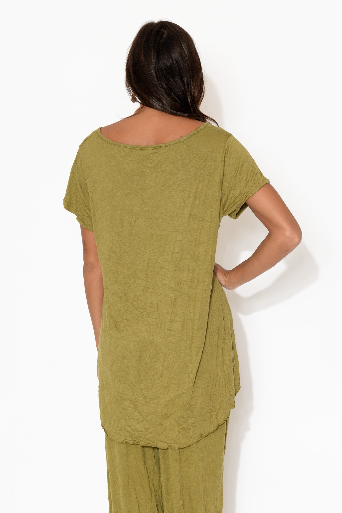 Olive Oversized Hi Lo Top