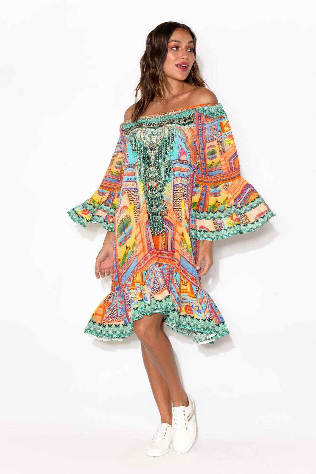 Orange Carnivale Silk Off Shoulder Dress